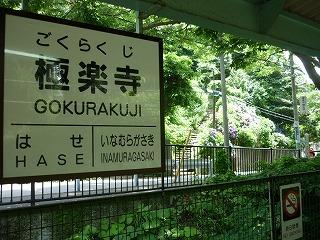 極楽寺駅ホームから紫陽花